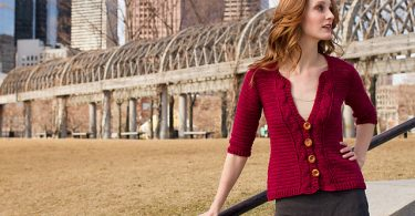 Cardigan all'uncinetto sagomato con bottoni