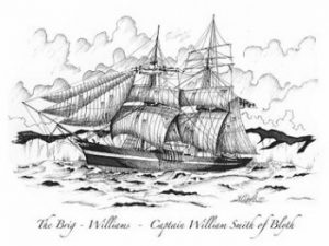 Il brigantino The Williams in un'incisione d'epoca