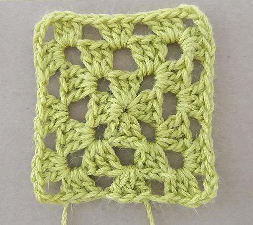 Campione quadratino Old America a uncinetto del filato Cotone bio, ortica e lana superwash di Onion